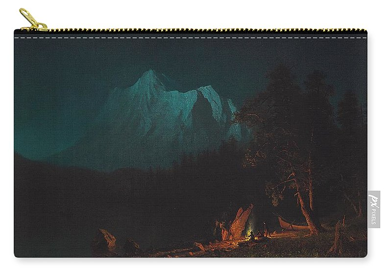 Landscape; Romantic; Romanticist; America; North America; American; North American;landscape; Rural; Countryside; Wilderness; Scenic; Picturesque; Atmospheric; Mountains; Mountain; Mountainous; Night; Nocturne; Moonlight; Moonlit; Lake; Wooded; Frontier; Pioneer; Pioneers; Camp; Camp Fire; Campfire; Fire; Bonfire; Glow; Glowing; Peak; Peaks; Boat; Travellers; Warmth; Rugged; Calm; Peaceful; Tranquil; Wild Carry-all Pouch featuring the painting Mountainous Landscape By Moonlight by Albert Bierstadt