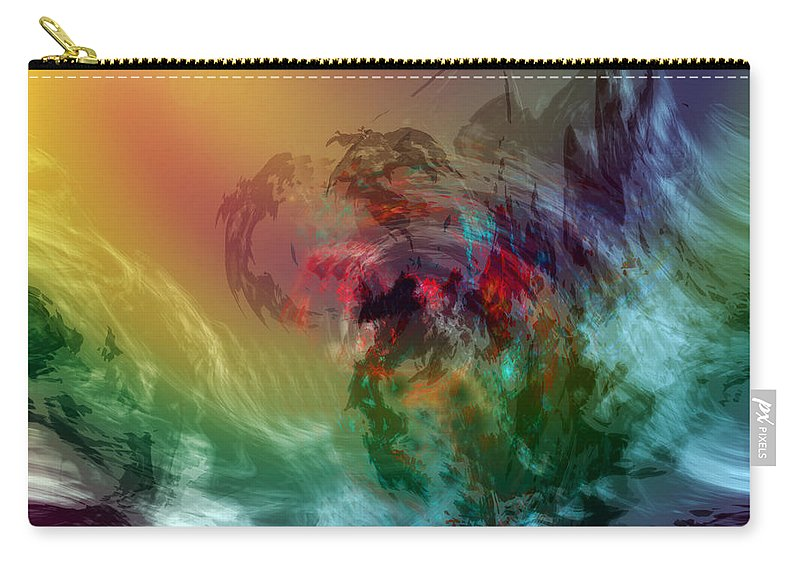 Sea Art Carry-all Pouch featuring the digital art Mountains Crumble To The Sea by Linda Sannuti