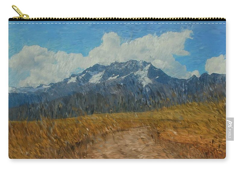 Abstract Digital Painting Carry-all Pouch featuring the photograph Mountains In Puru by David Lane