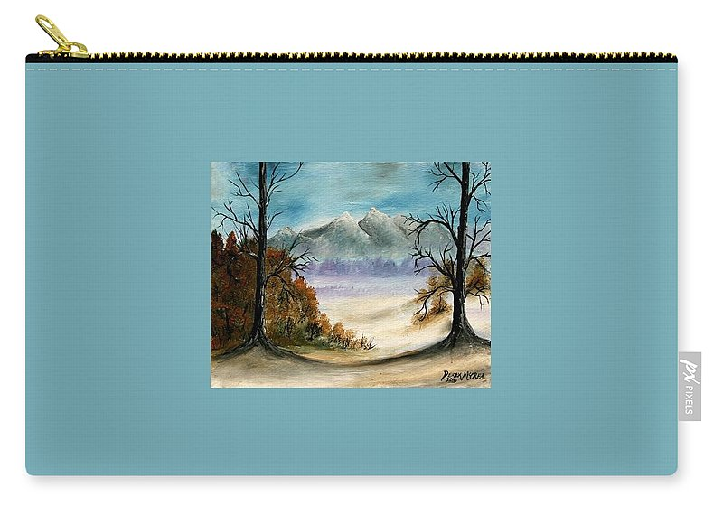 Mountains Carry-all Pouch featuring the painting Mountains Landscape Oil Painting by Derek Mccrea