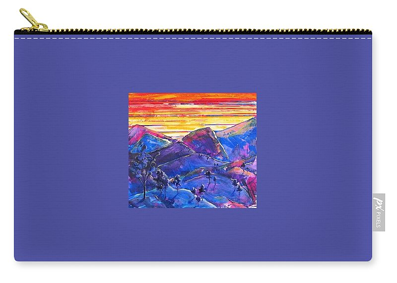 Mountains Carry-all Pouch featuring the painting Mountainscape Blue by Rollin Kocsis