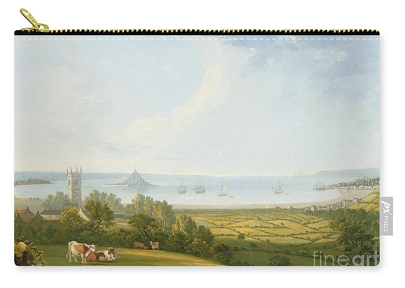 Landscape Carry-all Pouch featuring the painting Mounts Bay From Ludgvan by William Brooks
