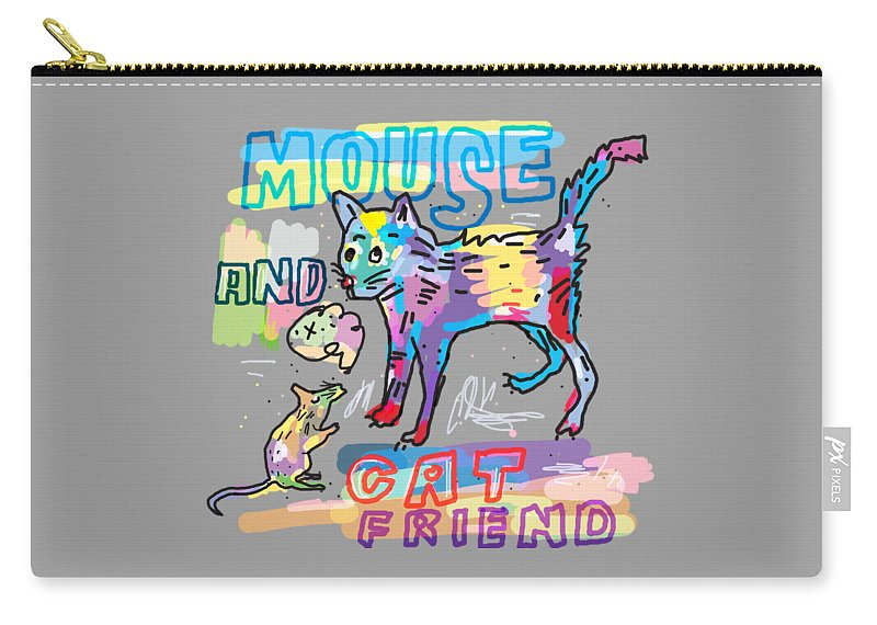 Animal Carry-all Pouch featuring the digital art Mouse And Cat Friend by Martinus Sumbaji