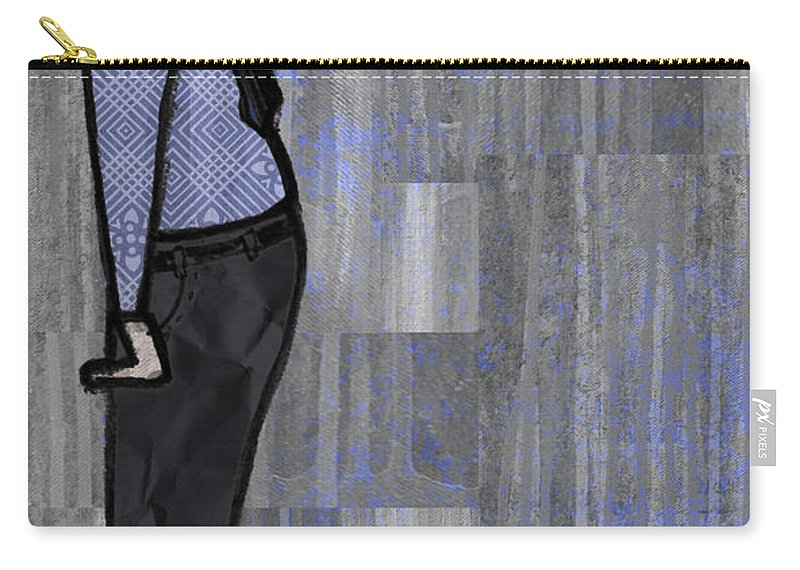 Salesman Carry-all Pouch featuring the digital art Moustache Salesman by Kelly Jade King