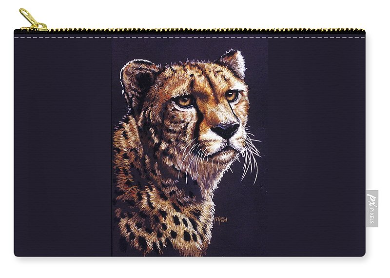 Cheetah Carry-all Pouch featuring the drawing Movin On by Barbara Keith