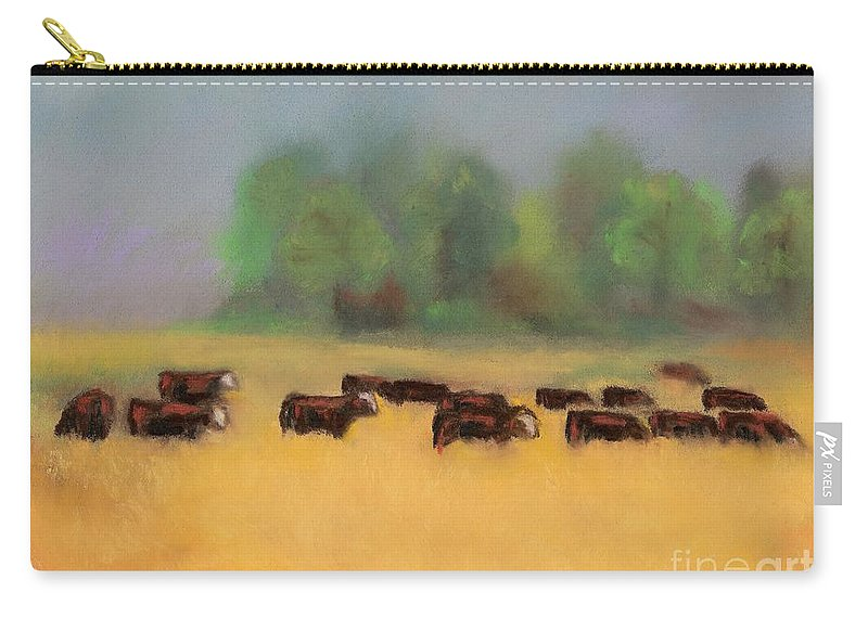 Cattle Carry-all Pouch featuring the painting Moving On by Frances Marino