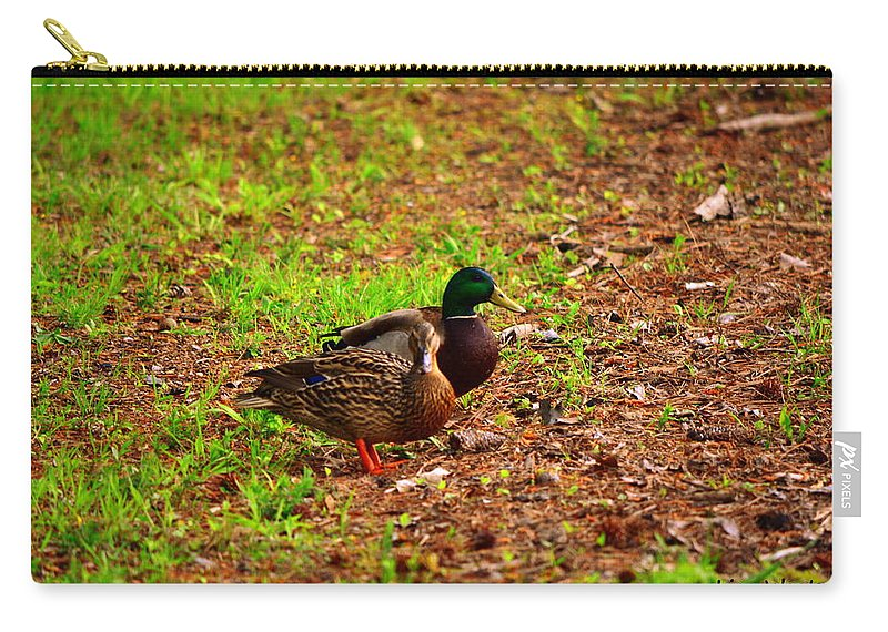 Mallards Carry-all Pouch featuring the photograph Mr. And Mrs. by Lisa Wooten