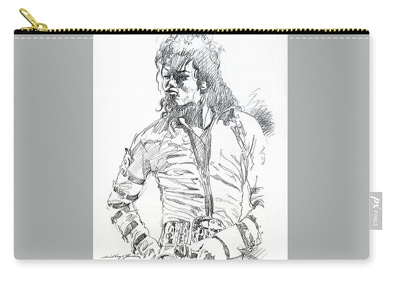 Michael Jackson Carry-all Pouch featuring the drawing Mr. Jackson by David Lloyd Glover