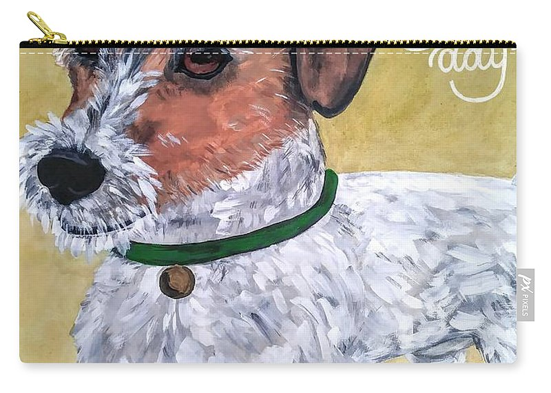 Dogs Carry-all Pouch featuring the painting Mr. R. Terrier by Reina Resto