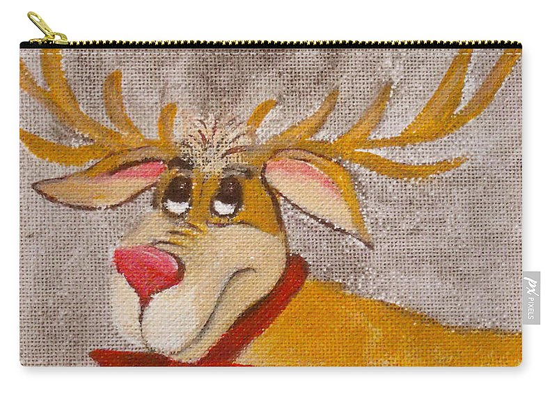 Animals Carry-all Pouch featuring the painting Mr Reindeer by Ruth Palmer