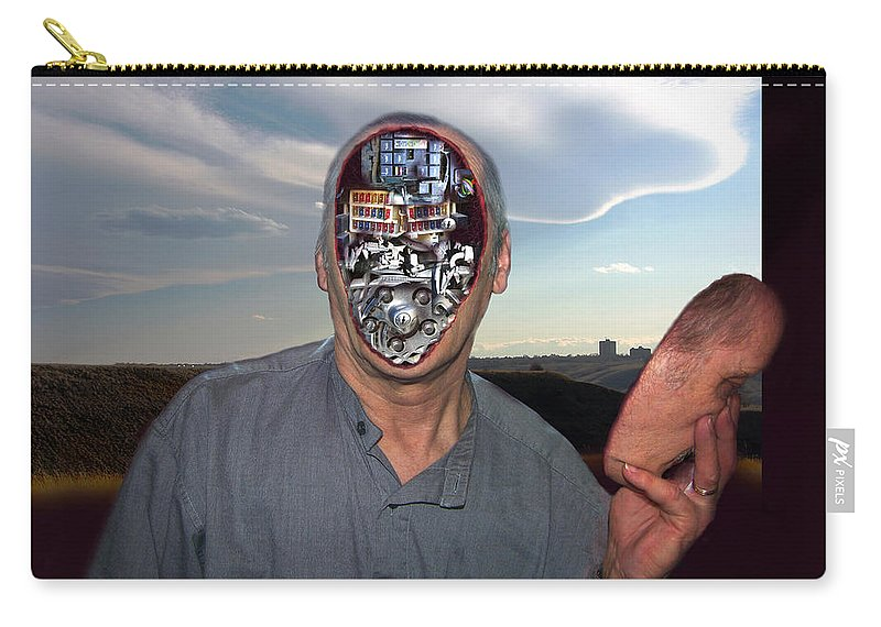 Surrealism Carry-all Pouch featuring the digital art Mr. Robot-otto by Otto Rapp