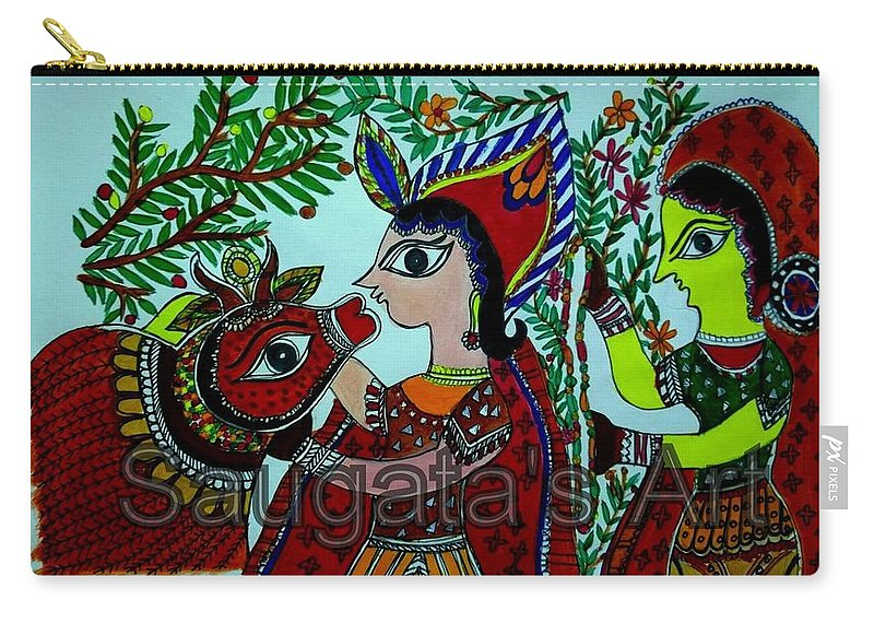 Madhubani Painting Carry-all Pouch featuring the painting Love And Worship For Cow by Saugata