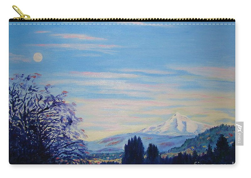 Mt Hood Carry-all Pouch featuring the painting Mt Hood A View From Gresham by Lisa Rose Musselwhite