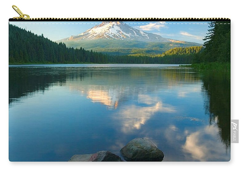 Mt. Hood Carry-all Pouch featuring the photograph Mt. Hood Cirrus Explosion by Mike Dawson