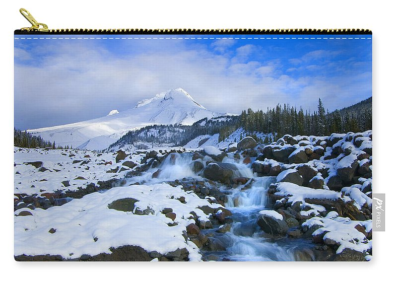 Mt. Hood Carry-all Pouch featuring the photograph Mt. Hood Morning by Mike Dawson