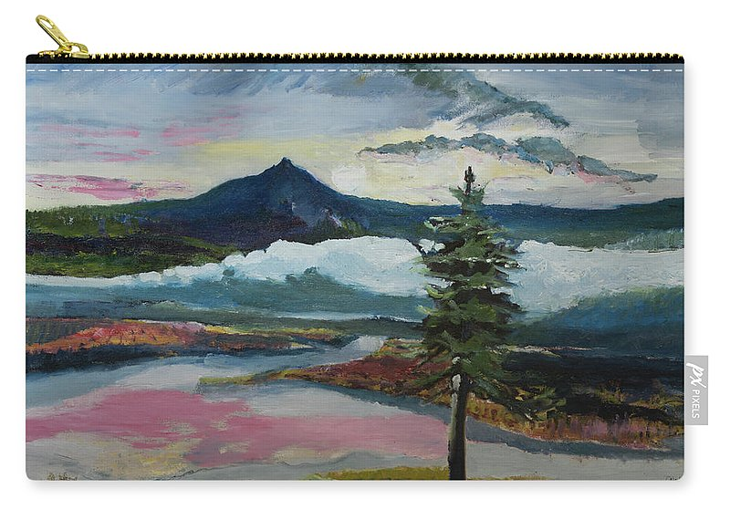 Mountain Carry-all Pouch featuring the painting Mt Hood Winter Sunrise by Craig Newland