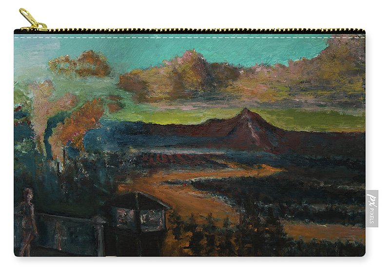 Mt Hood Carry-all Pouch featuring the painting Mt Hood With Paper Mill by Craig Newland