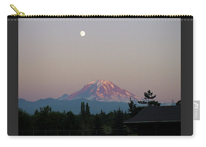 August Carry-all Pouch featuring the photograph Mt Rainier August Moon by Shirley Heyn