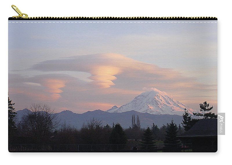 Mountain Carry-all Pouch featuring the photograph Mt Rainier Lenticular Funnels by Shirley Heyn