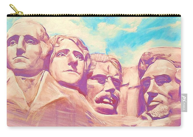 Mt Rushmore Carry-all Pouch featuring the painting Mt Rushmore by Kean Butterfield