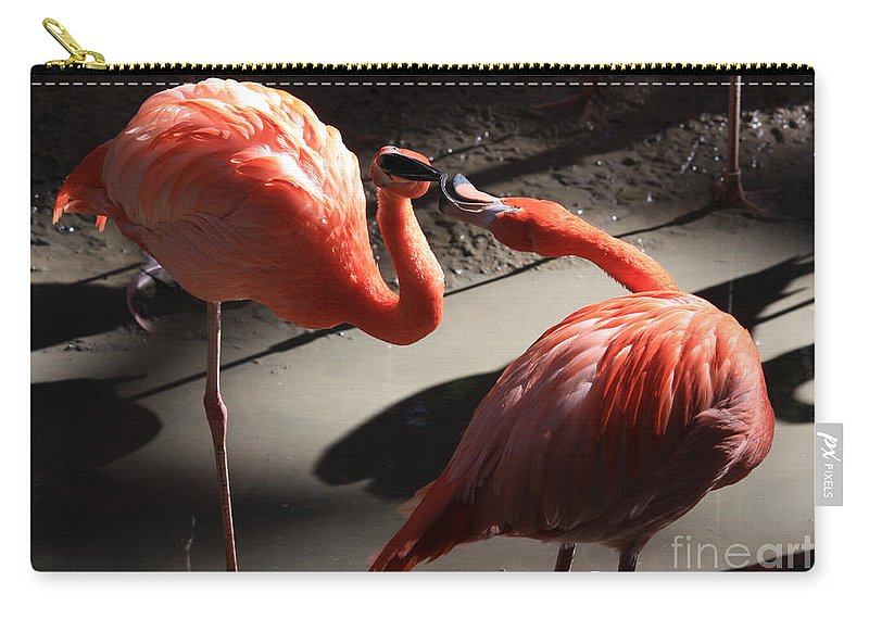 Flamingos Carry-all Pouch featuring the photograph Mud Fight by Carol Groenen