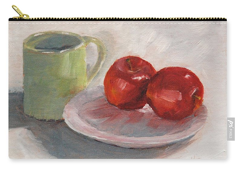Apple Carry-all Pouch featuring the painting Mugging For Apples by Mary Benke