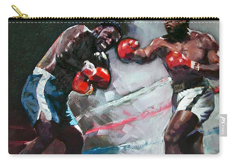 Muhammad Ali Carry-all Pouch featuring the painting Muhammad Ali And Joe Frazier by Ylli Haruni