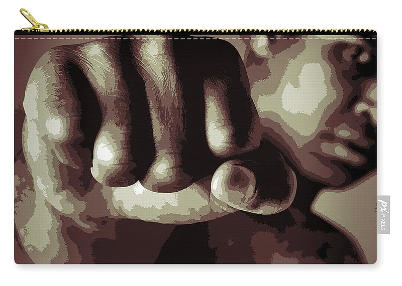 Muhammad Ali Fist Poster Carry-all Pouch featuring the digital art Muhammad Ali Fist Poster by Dan Sproul