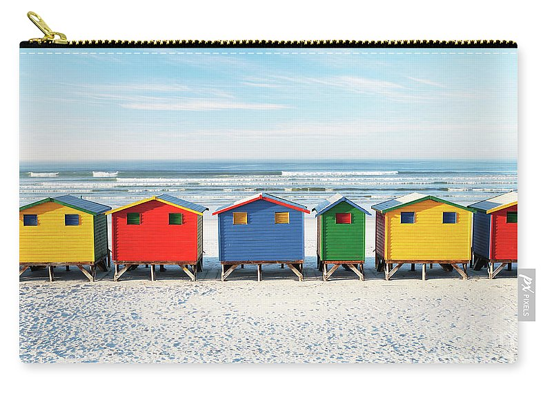 Beach Carry-all Pouch featuring the photograph Muizenberg Beach Huts 2 by Neil Overy