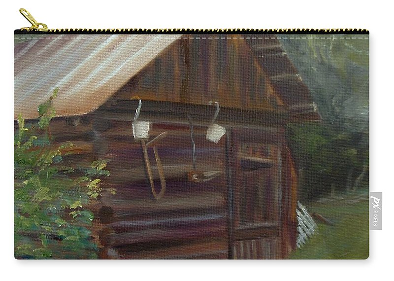 Grainery Carry-all Pouch featuring the painting Mulberry Farms Grainery by Donna Tuten