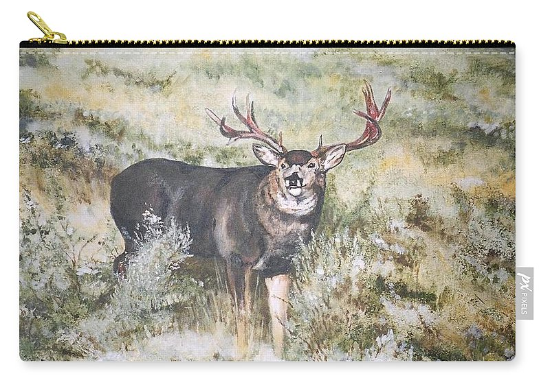 Mule Deer Carry-all Pouch featuring the painting Muley by Debra Sandstrom