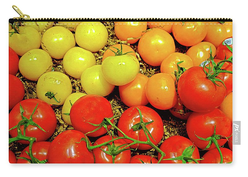 Multi Colored Tomatoes Carry-all Pouch featuring the photograph Multi Colored Tomatoes by Robert Meyers-Lussier