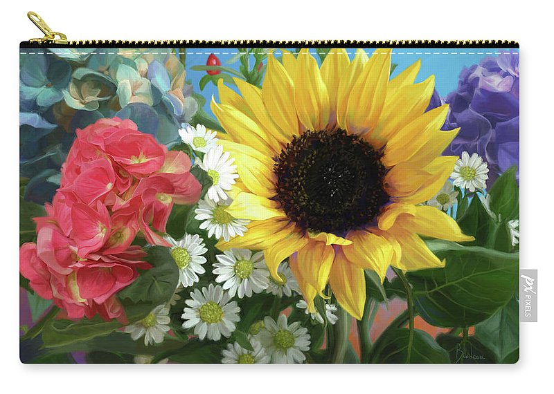 Sunflower Carry-all Pouch featuring the painting Multicolor Flowers by Lucie Bilodeau