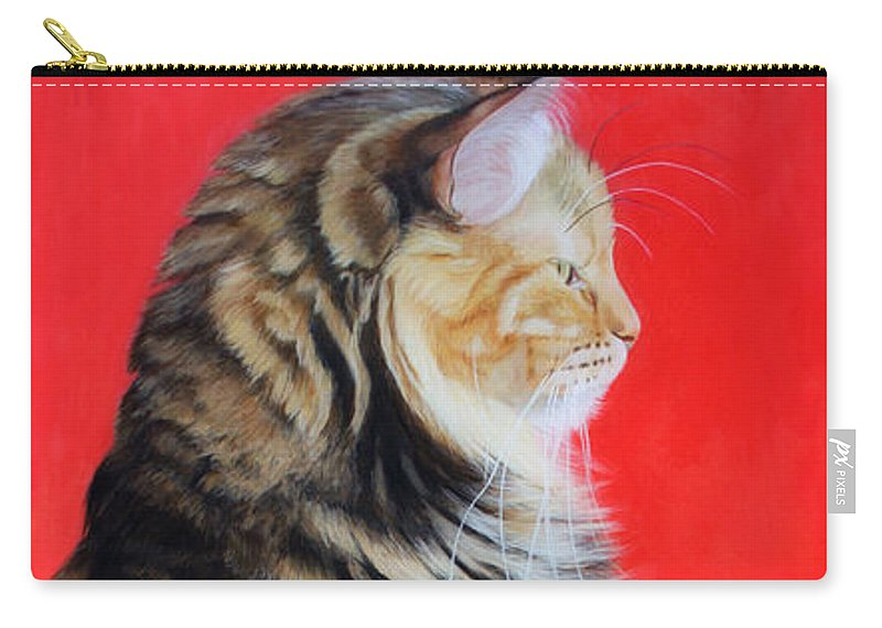 Cat Carry-all Pouch featuring the painting Multicolored Cat In Red Background by Susana Falconi