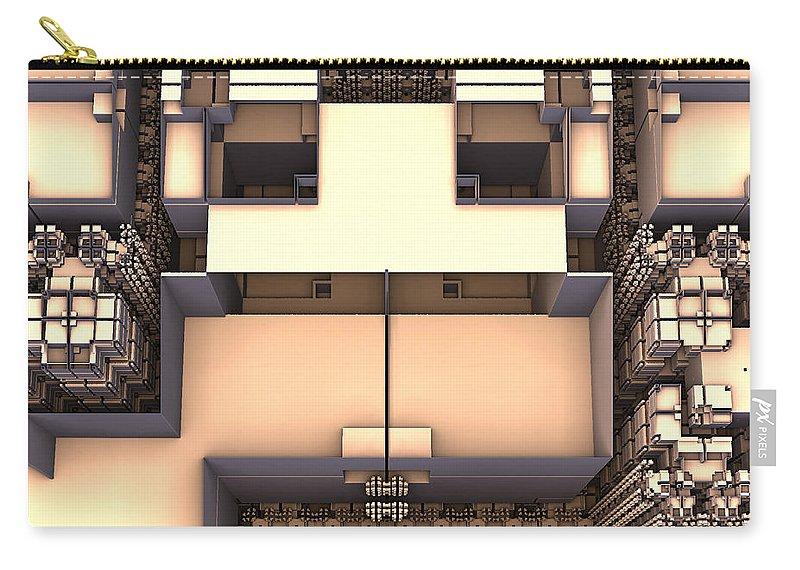 Mandelbulb3d Fractal Digital Carry-all Pouch featuring the digital art Multidimensional Rooms by Geoffrey Barnes