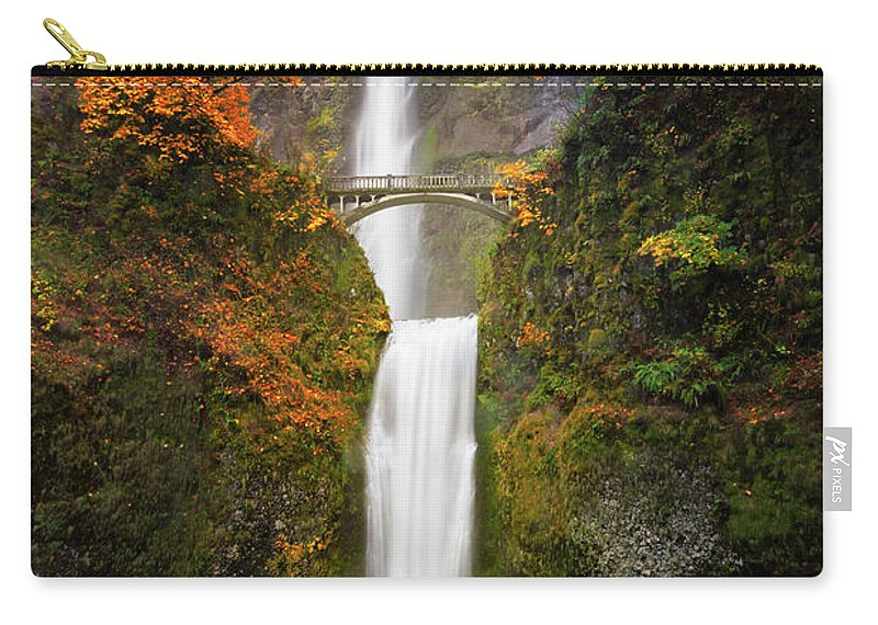 Oregon Carry-all Pouch featuring the photograph Multnomah Falls In Autumn Colors by William Freebilly photography