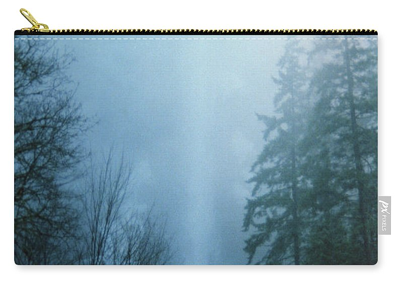 Cloud Carry-all Pouch featuring the photograph Multnomah Falls Through The Clouds by Rick Bures