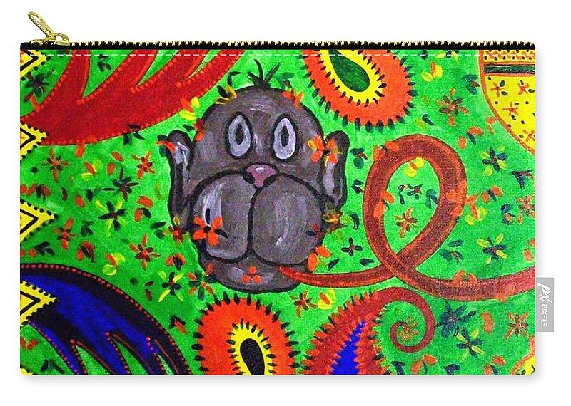 Fantasy Folk Art Carry-all Pouch featuring the painting Mun Moji-hookah Monkey by Fareeha Khawaja