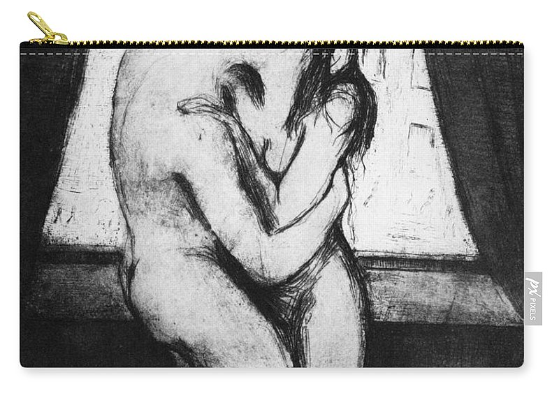 1895 Carry-all Pouch featuring the photograph Munch The Kiss, 1895 - To License For Professional Use Visit Granger.com by Granger