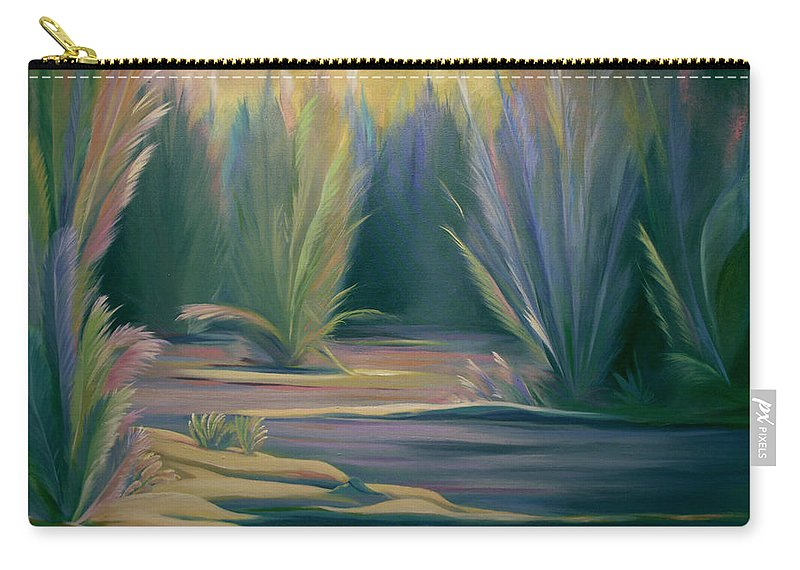 Feathers Carry-all Pouch featuring the painting Mural Field Of Feathers by Nancy Griswold