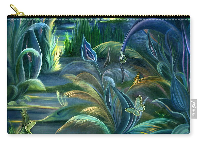 Mural Carry-all Pouch featuring the painting Mural Insects of Enchanted Stream by Nancy Griswold