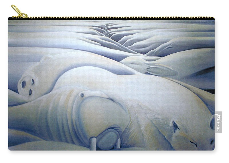Mural Carry-all Pouch featuring the painting Mural Winters Embracing Crevice by Nancy Griswold