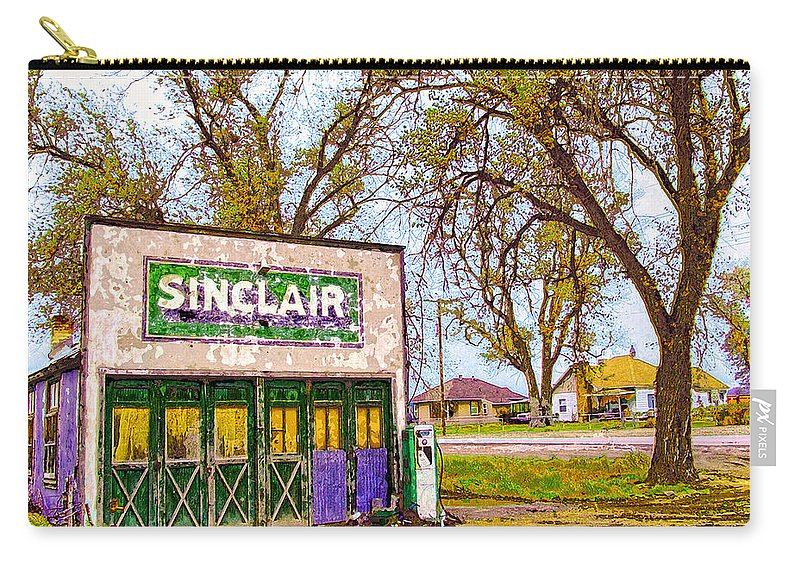 Sinclar Gasoline Carry-all Pouch featuring the mixed media Murphy's Garage by Dominic Piperata