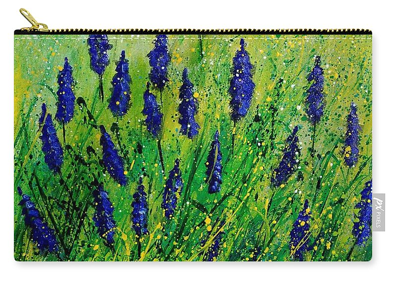 Flowers Carry-all Pouch featuring the painting Muscaris 4590 by Pol Ledent