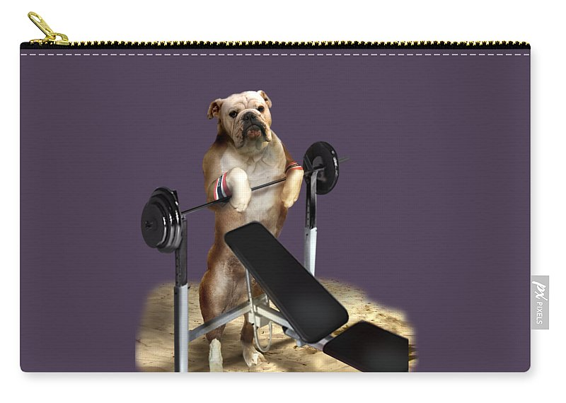 Pet Picture Dog Lifting Weights Print Carry-all Pouch featuring the painting Muscle Boy Boxer Lifting Weights by Regina Femrite