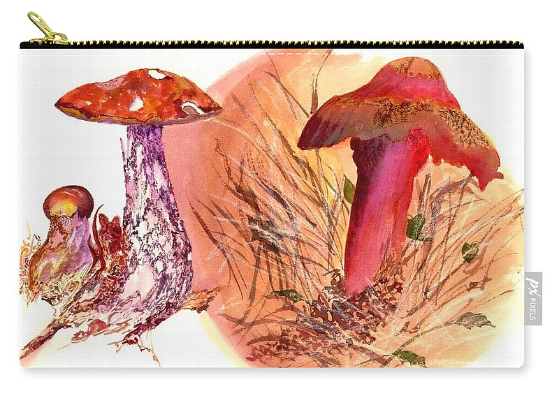 Mushrooms Carry-all Pouch featuring the painting Mushroom Family by Debbie Lewis
