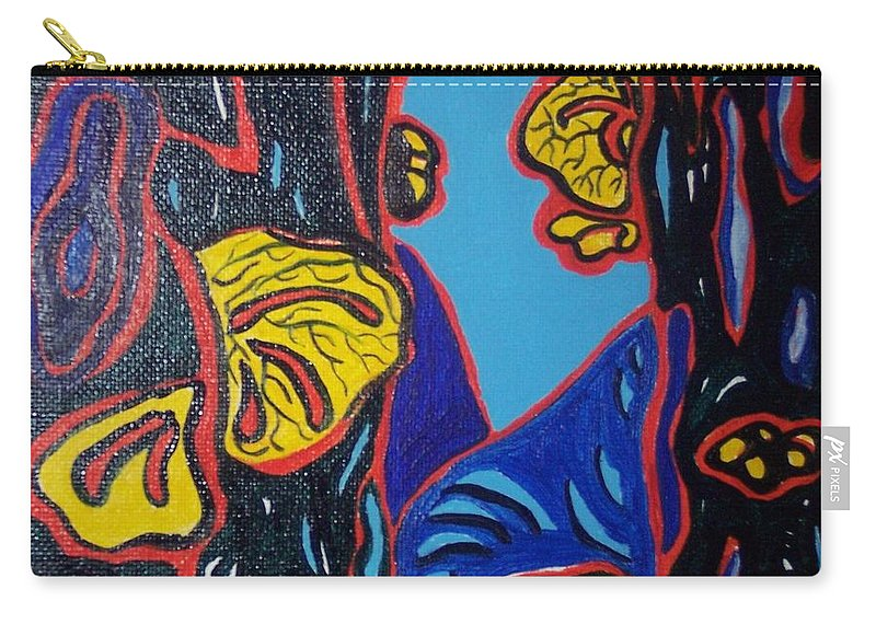 Abstract Paintings Carry-all Pouch featuring the painting Mushroom On Trees by Seon-Jeong Kim