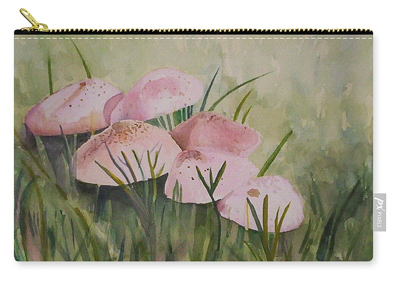 Landscape Carry-all Pouch featuring the painting Mushrooms by Suzanne Udell Levinger