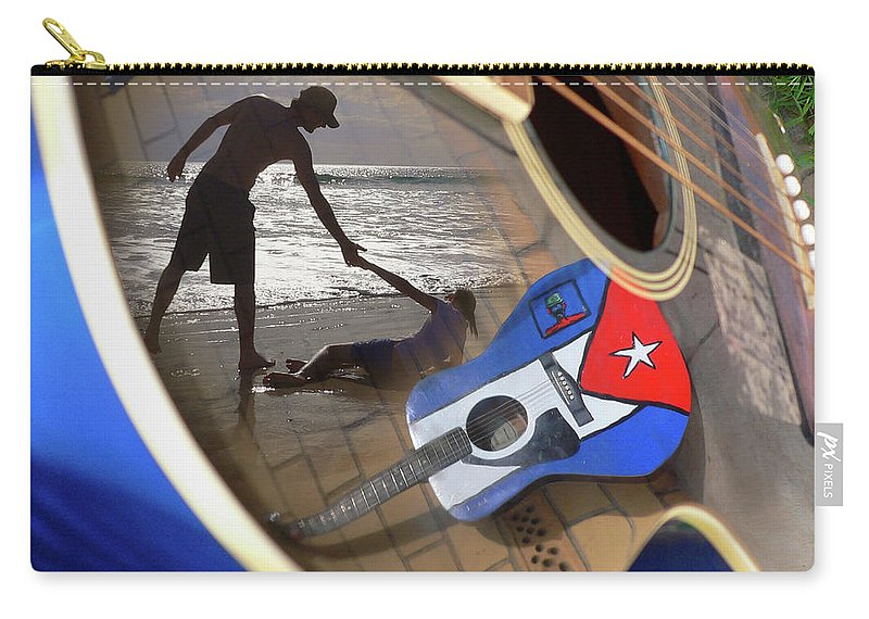 Music Carry-all Pouch featuring the photograph Music By The Sea by Kelly Jade King
