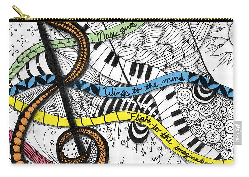 Music Carry-all Pouch featuring the digital art Music Gives Life by Emily Smith